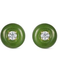 Fernando Jorge Puces d'oreilles en or 18ct à finitions en jade - Métallisé