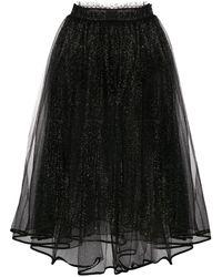 Elisabetta Franchi Glitter Tulle Skirt - Black