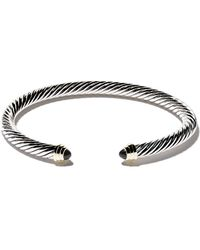 David Yurman Cable Classics Sterling Silver, Onyx & 14kt Yellow Gold Accented Cuff Bracelet - Multicolour