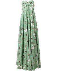 Valentino Платье С Цветочным Узором - Зеленый