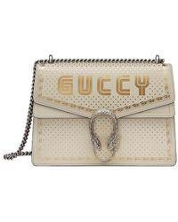 Gucci Dionysus Guccy Sega Print Medium Shoulder Bag - White