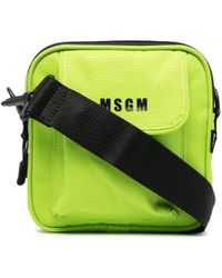 MSGM ロゴ メッセンジャーバッグ - グリーン