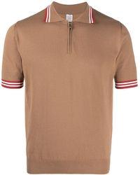 Eleventy ストライプトリム ポロシャツ - ブラウン