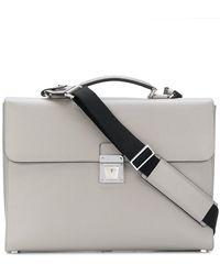 Serapian Flip Lock Briefcase - Gray
