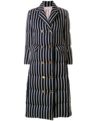 Thom Browne - Chenille Banker Stripe Wool & Cotton Overcoat - Lyst