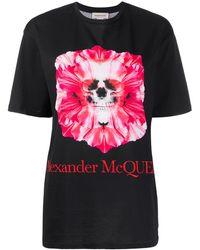 Alexander McQueen フローラル スカル Tシャツ - ブラック