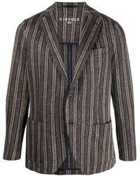 Circolo 1901 ストライプ シングルジャケット - ブラウン