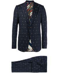 Gucci Anzug mit GG-Stickerei - Blau