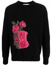 Soulland Rose-intarsia Jumper - Black