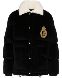 Dolce & Gabbana - Logo-embroidered Velvet Puffer Jacket - Lyst