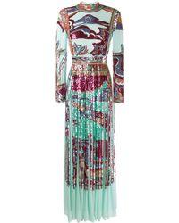 Emilio Pucci スパンコール イブニングドレス - ブルー