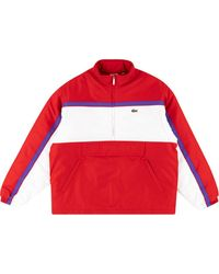Supreme X Lacoste Pullover Met Halve Rits - Rood