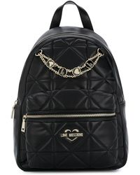 Love Moschino Quilted Logo Backpack - Black