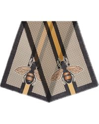 Gucci Bee Web Print Wool Stole - Brown