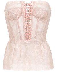 Dolce & Gabbana Приталенный Топ С Открытыми Плечами - Розовый