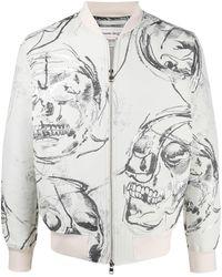 Alexander McQueen スカルプリント ボンバージャケット - ホワイト