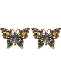 Gucci - Schmetterlingsohrringe mit Kristallen - Lyst