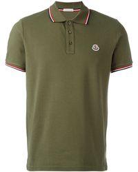 Moncler Striped Trim Polo Shirt - Green