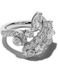 De Beers 18kt White Gold Adonis Rose Cluster Diamond Ring - Metallic