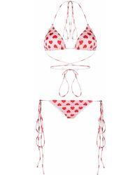 Natasha Zinko Heart-print Bikini - Red
