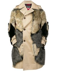 Junya Watanabe - Faux Fur Patches Single Breasted Coat - Lyst