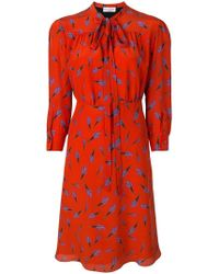 Sonia Rykiel - Bouquet Print Tie Neck Shirt Dress - Lyst