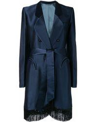 Manteau Manteau À Manteau Bords Bleu À Bleu Frangés À Frangés Bords Bords XTPZiwOkul