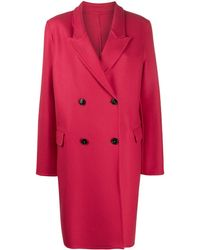 Closed Cross Double-breasted Coat - Pink
