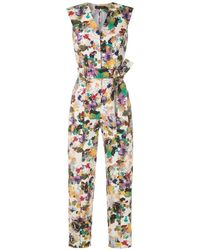 Andrea Marques Tie Waist Printed Jumpsuit - Multicolour
