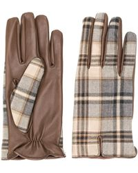 Etro Plaid Leather Gloves - Brown