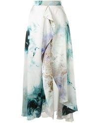 ROKSANDA Gold Explosion Printed Satin Skirt - Blue