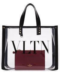 Valentino Small Vltn Pvc Tote - Black