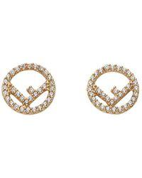 Fendi Embellished Logo Earrings - Metallic