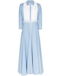 Evi Grintela Blue Garance Collared Cotton Dress