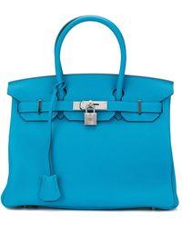 Hermès 'Birkin' Handtasche aus Clemence-Leder, 30 cm - Blau