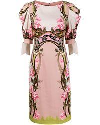 Alberta Ferretti フローラル ドレープスリーブ ドレス - ピンク