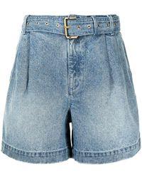 Michael Kors Belted Denim Shorts - Blue