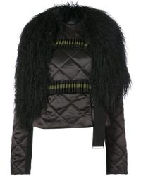 David Koma - Quilted Jacket With Removable Fur Collar - Lyst