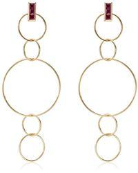 Ileana Makri 18kt Yellow Gold Ruby Embellished Dangling Hoop Earrings - Metallic