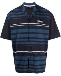 BOSS by Hugo Boss Striped Print Pyjama Set - Blue