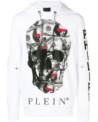 Philipp Plein スカル パーカー - ホワイト