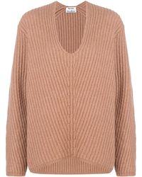 Acne Studios Oversized V-neck Sweater - Brown