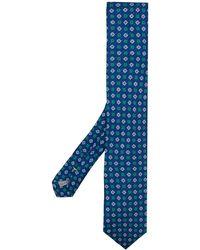 Canali Floral Jacquard Tie - Blue