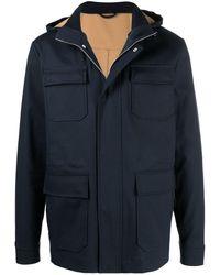 Eleventy Hooded Multi-pocket Jacket - ブルー