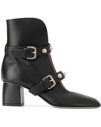 RED Valentino - Red(v) Pointed Buckled Ankle Boots - Lyst
