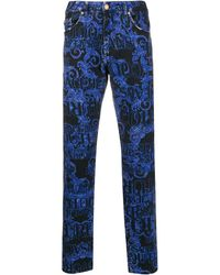Versace Jeans ロゴ ストレートジーンズ - ブルー