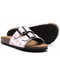 Mc2 Saint Barth Gingham Buckle-embellished Sandals - Pink