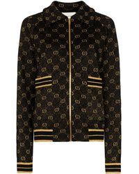 Gucci Logo Jacquard Wool Cardigan - Black