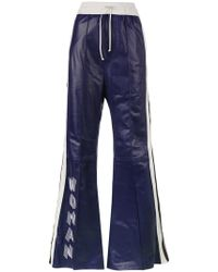 Off-White c/o Virgil Abloh - High Waisted Flared Leather Track Pants - Lyst