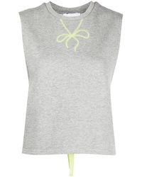 Marchesa notte Lace-up Detail Tank Top - Grey